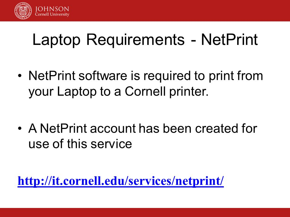 Laptop Requirements - NetPrint