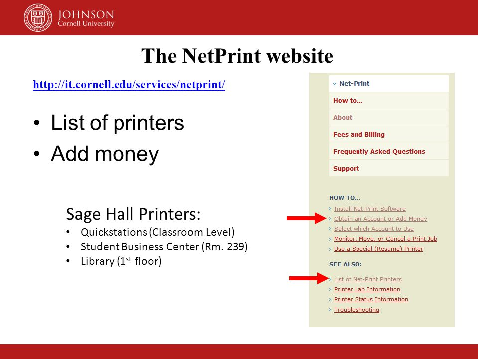 The NetPrint website List of printers Add money Sage Hall Printers: