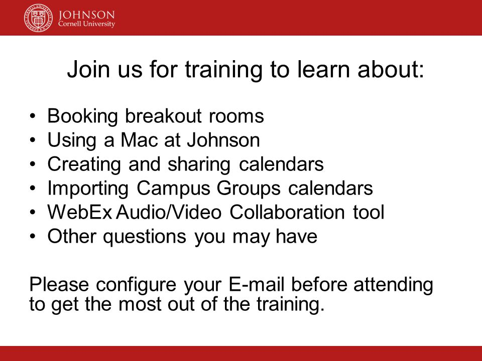 Join us for training to learn about: