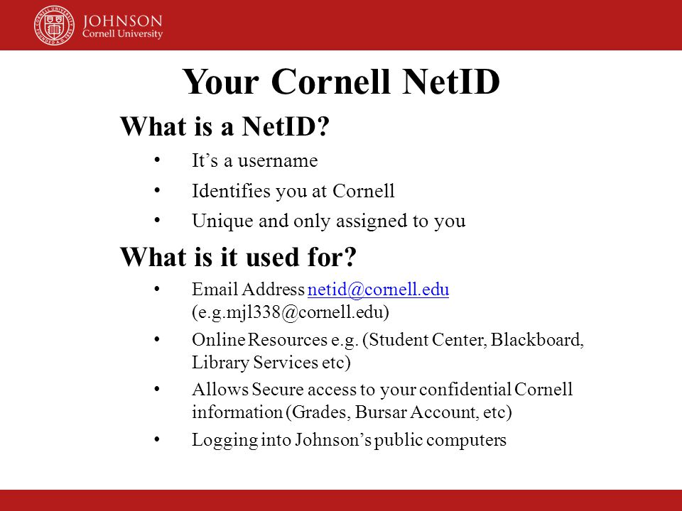 Your Cornell NetID What is a NetID What is it used for