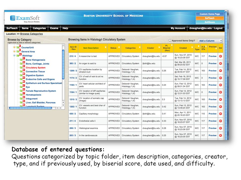 Database of entered questions: