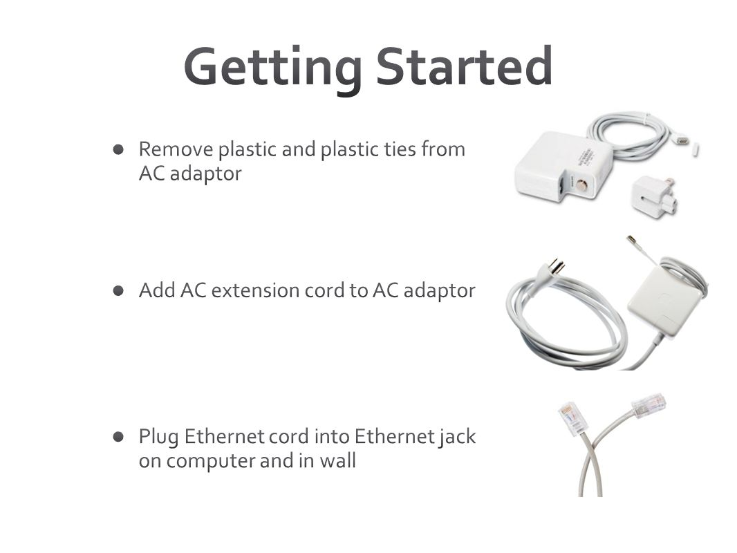 Getting Started Remove plastic and plastic ties from AC adaptor