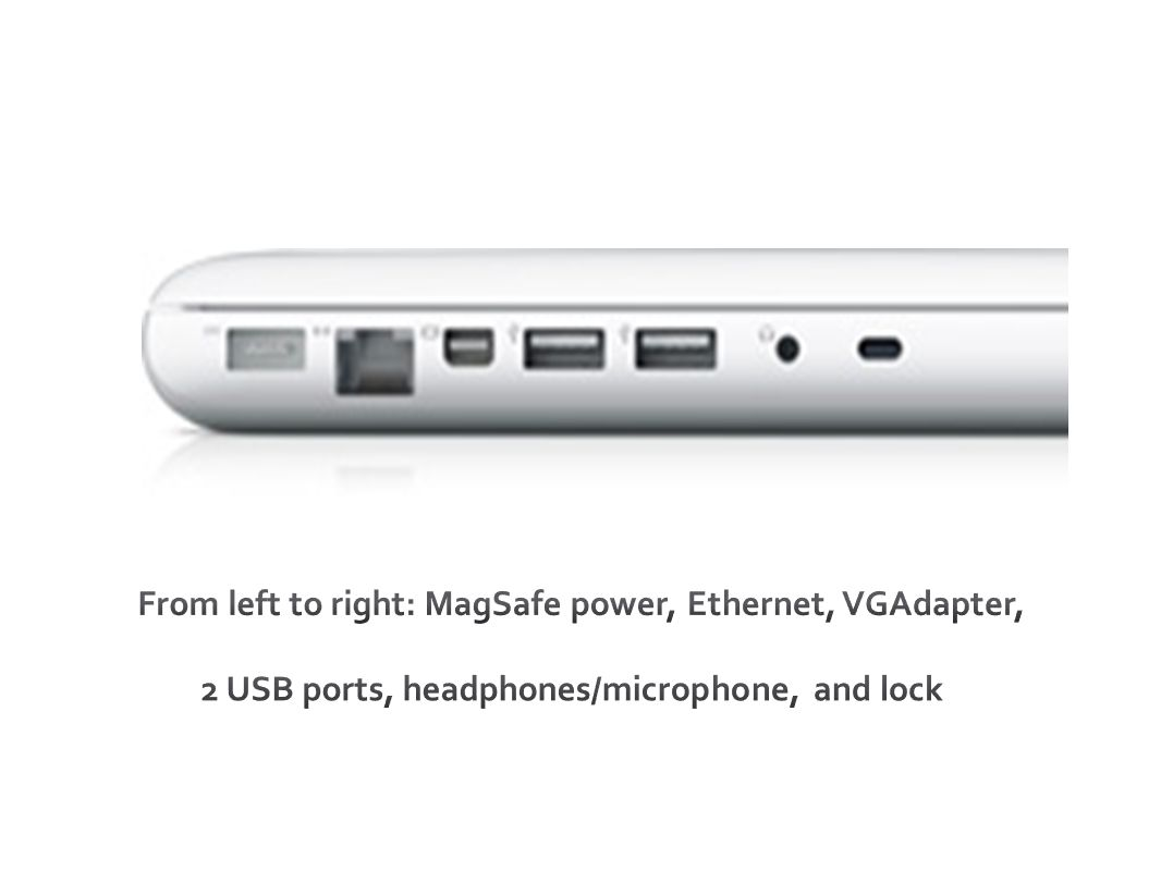 From left to right: MagSafe power, Ethernet, VGAdapter, 2 USB ports, headphones/microphone, and lock