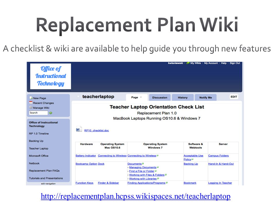 Replacement Plan Wiki A checklist & wiki are available to help guide you through new features. Can email to the conference.