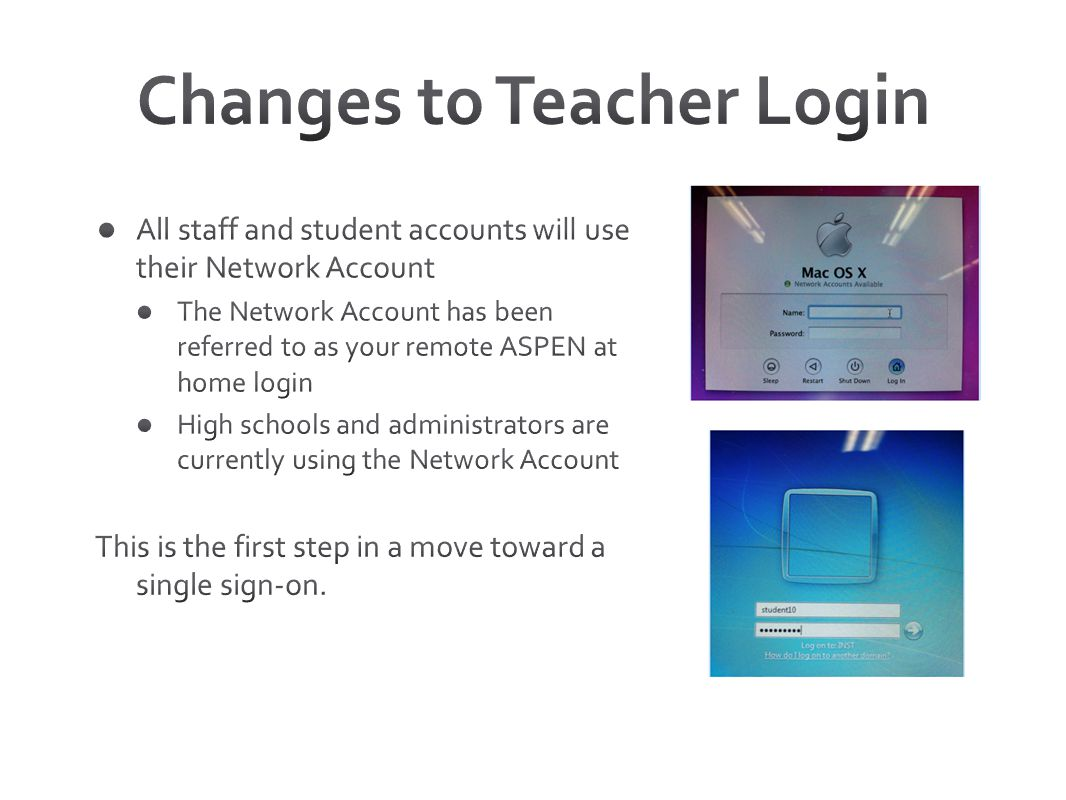Changes to Teacher Login