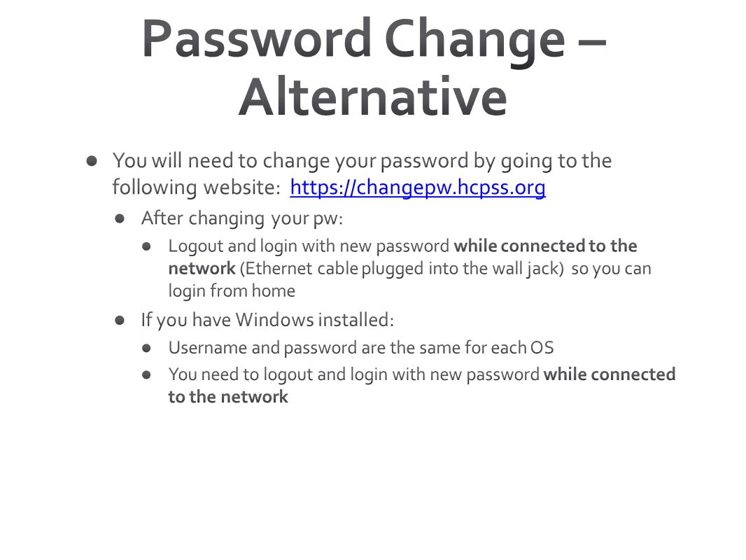 Password Change – Alternative