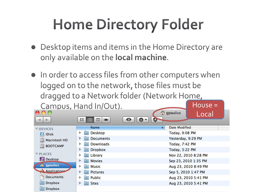 Home Directory Folder Desktop items and items in the Home Directory are only available on the local machine.