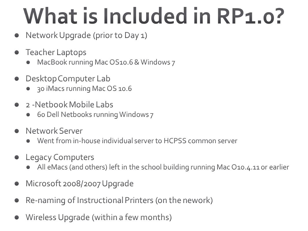 What is Included in RP1.0 Network Upgrade (prior to Day 1)