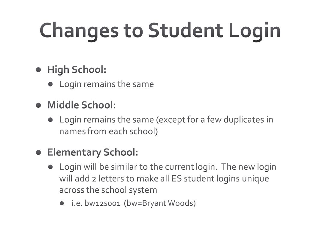 Changes to Student Login