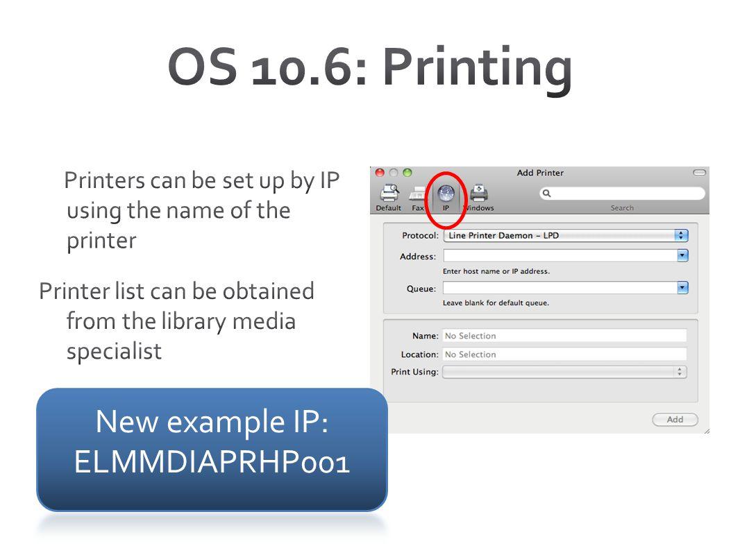 New example IP: ELMMDIAPRHP001