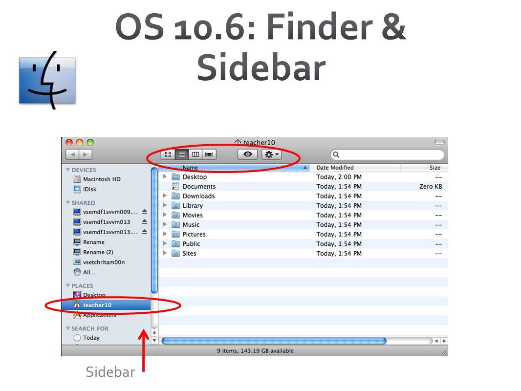 OS 10.6: Finder & Sidebar Sidebar