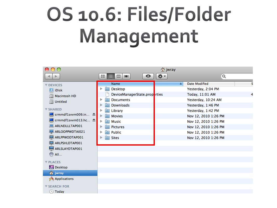 OS 10.6: Files/Folder Management