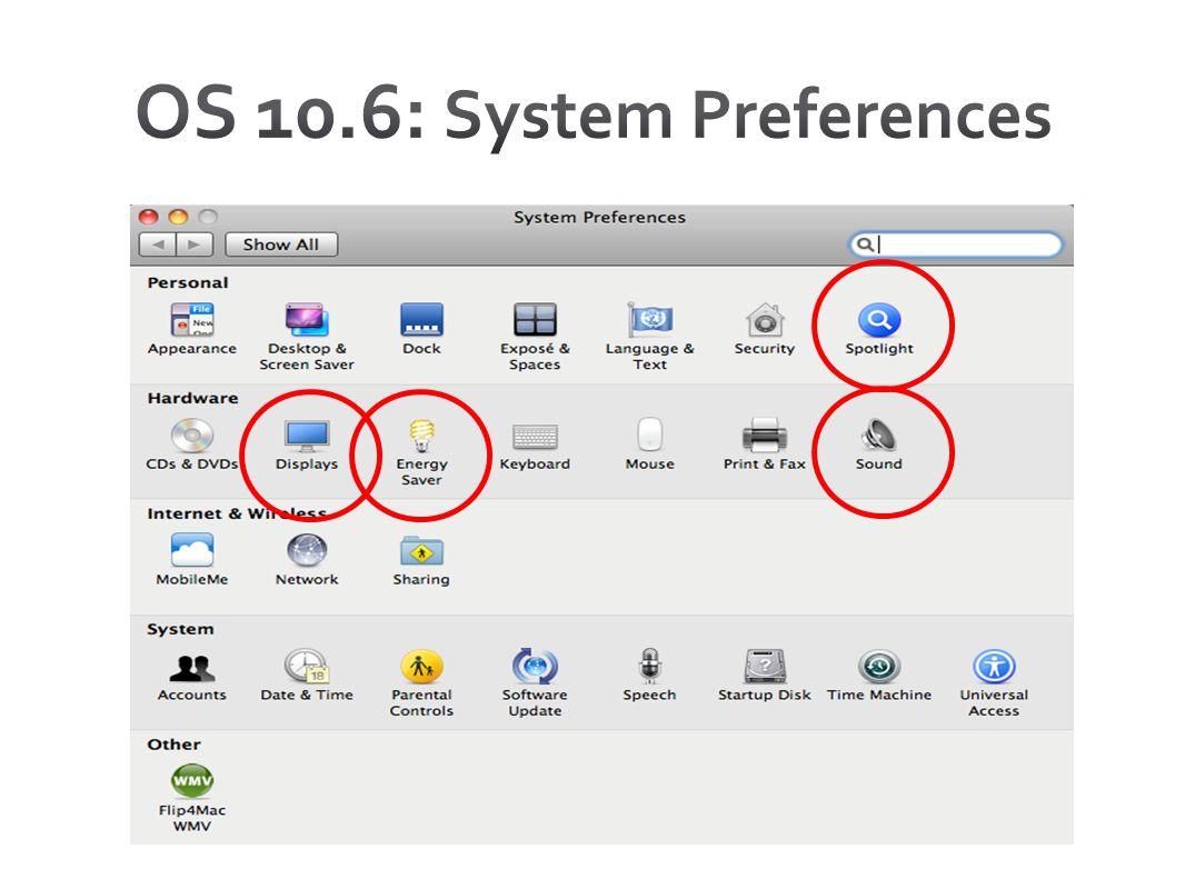 OS 10.6: System Preferences