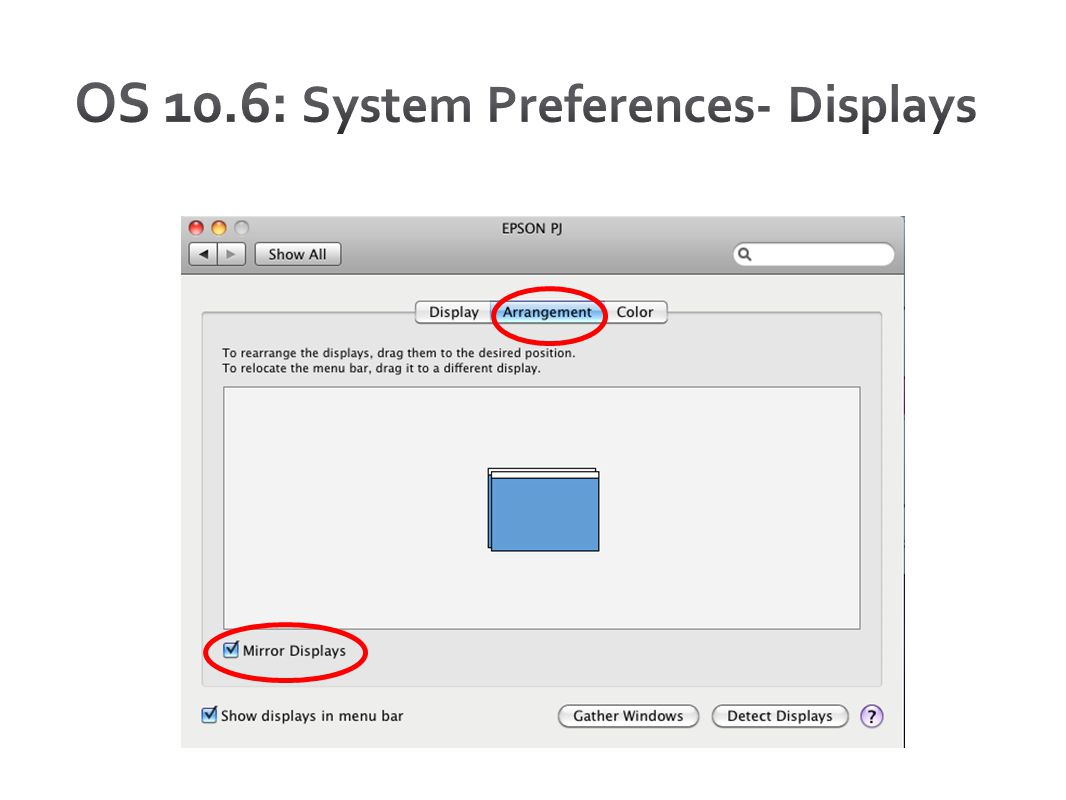 OS 10.6: System Preferences- Displays