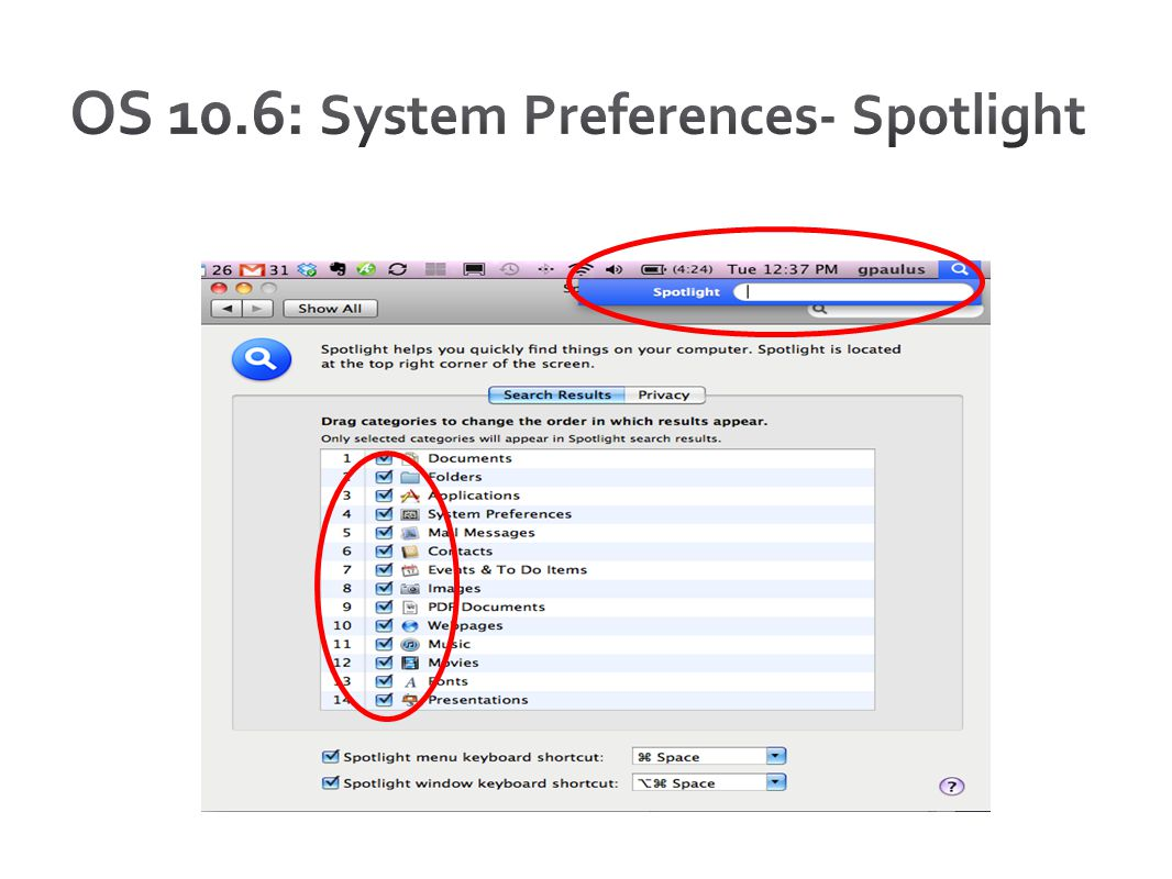 OS 10.6: System Preferences- Spotlight