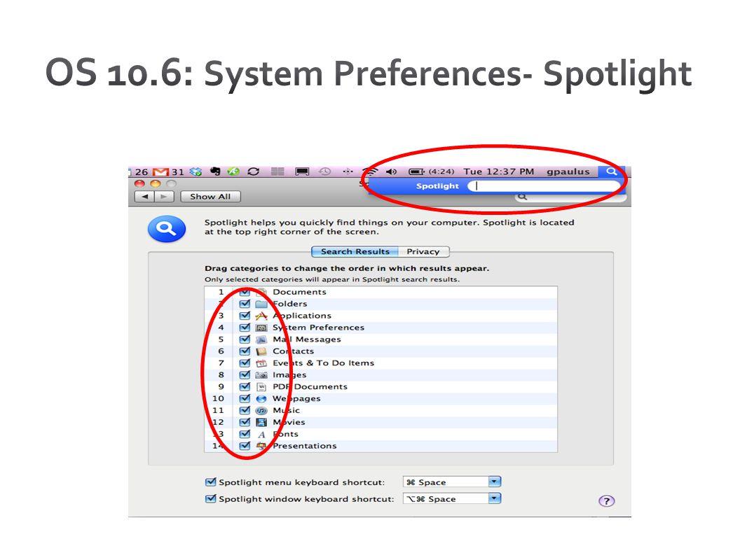 OS 10.6: System Preferences- Spotlight