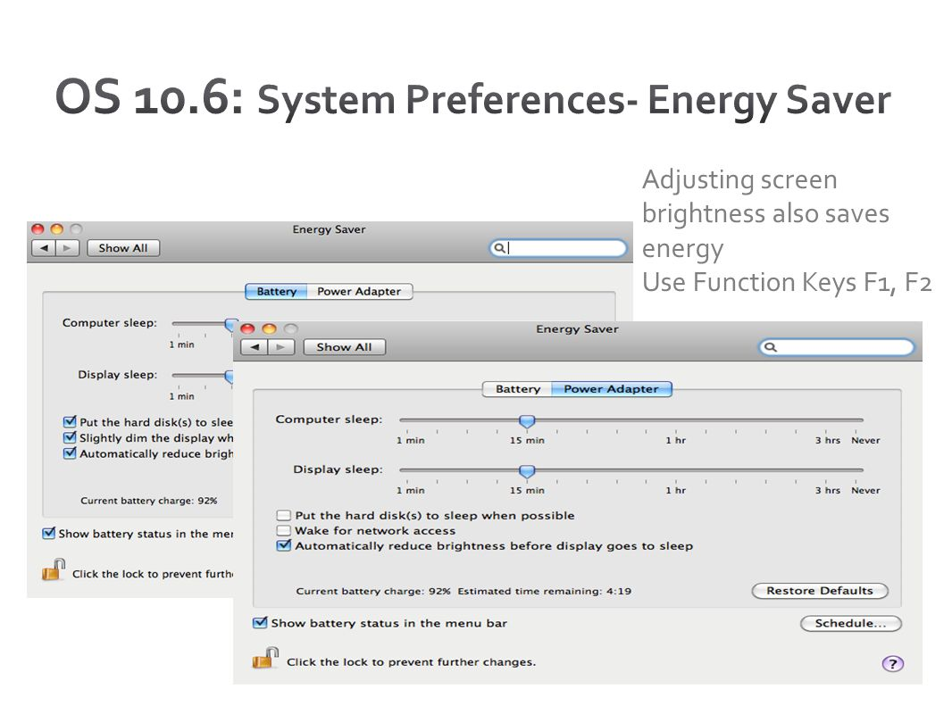 OS 10.6: System Preferences- Energy Saver
