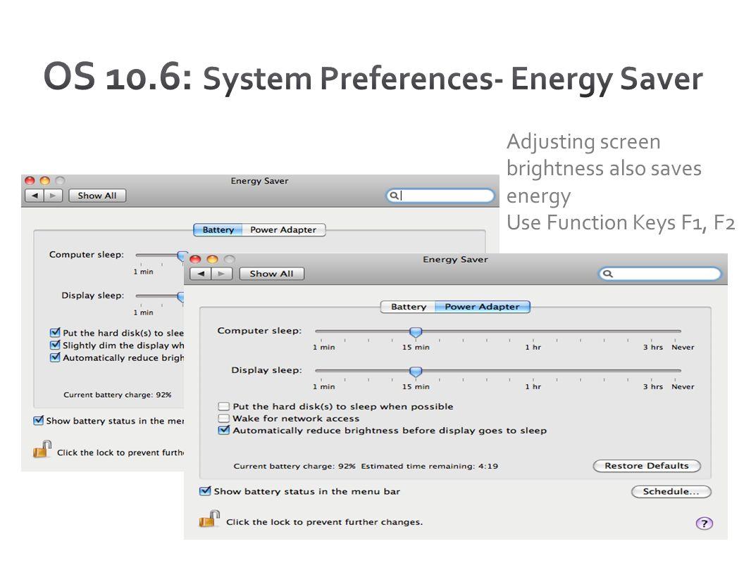 OS 10.6: System Preferences- Energy Saver