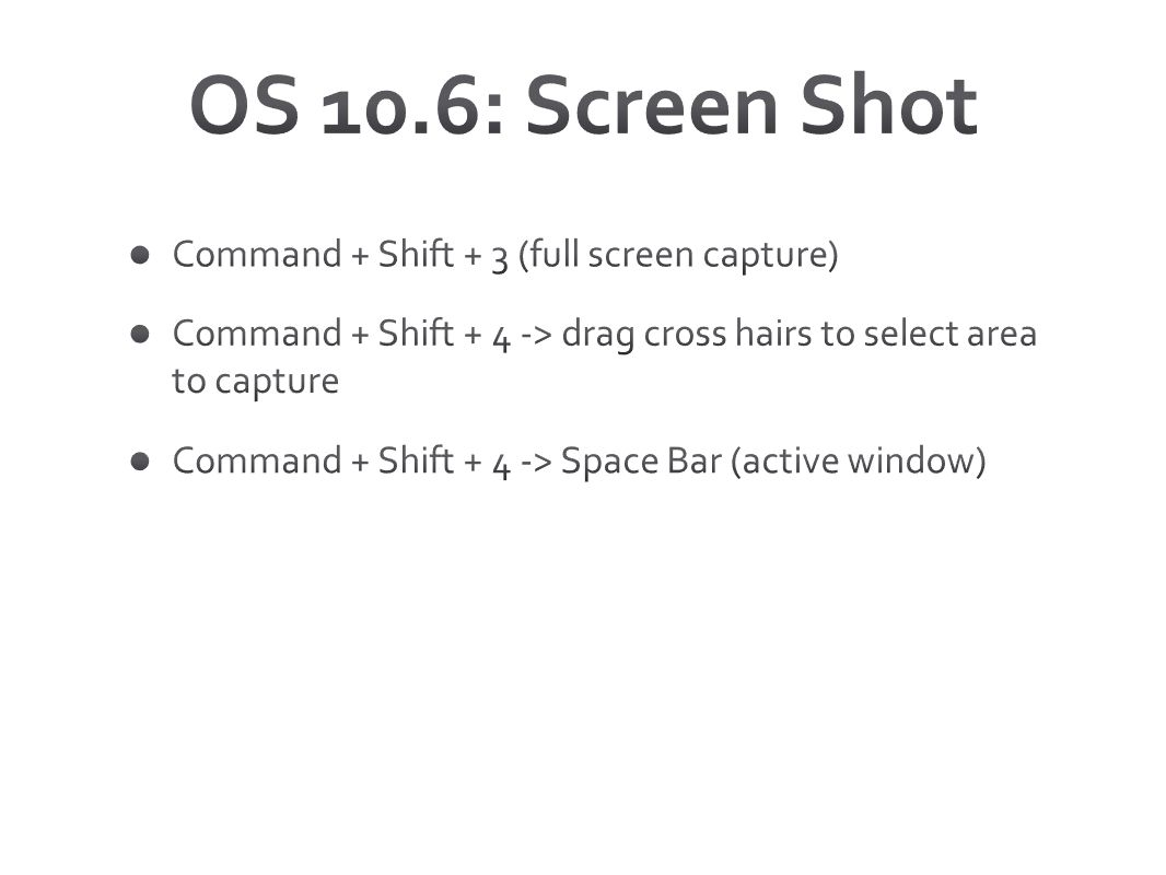 OS 10.6: Screen Shot Command + Shift + 3 (full screen capture)