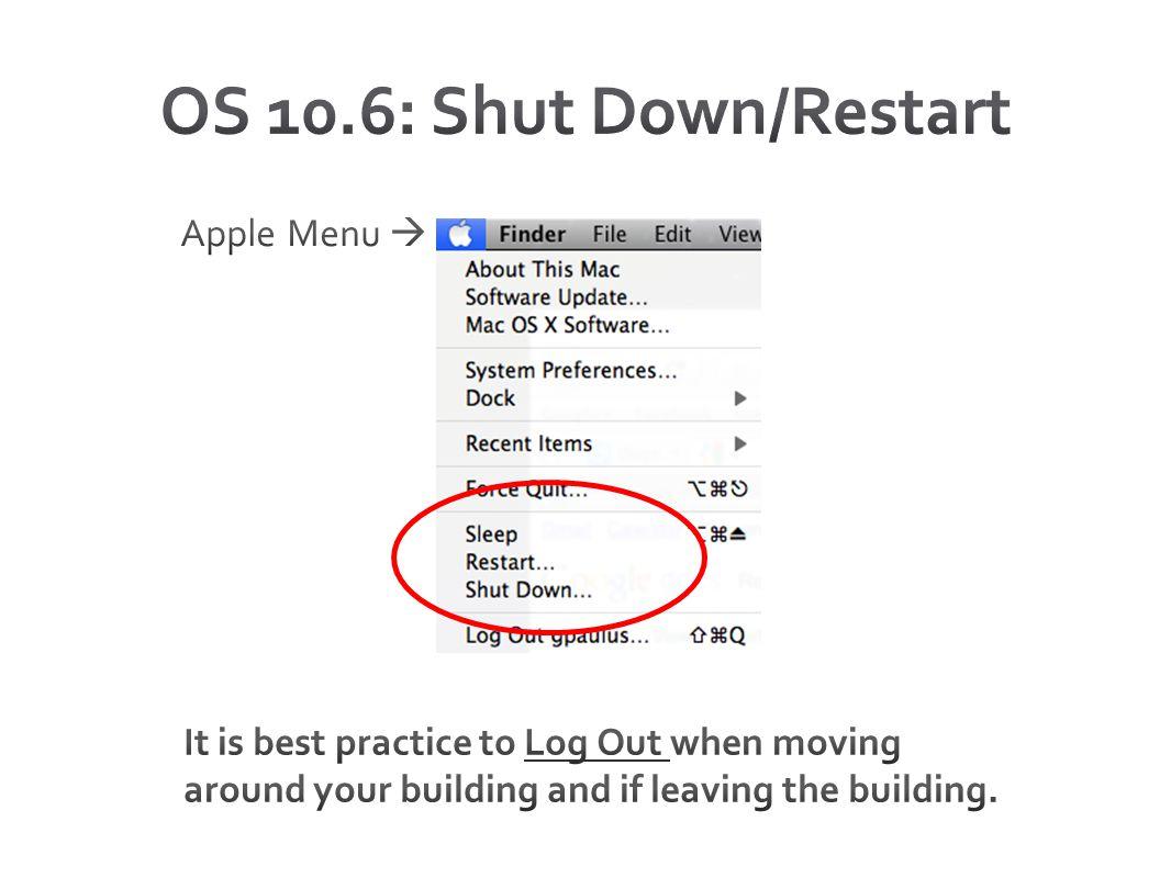OS 10.6: Shut Down/Restart Apple Menu 