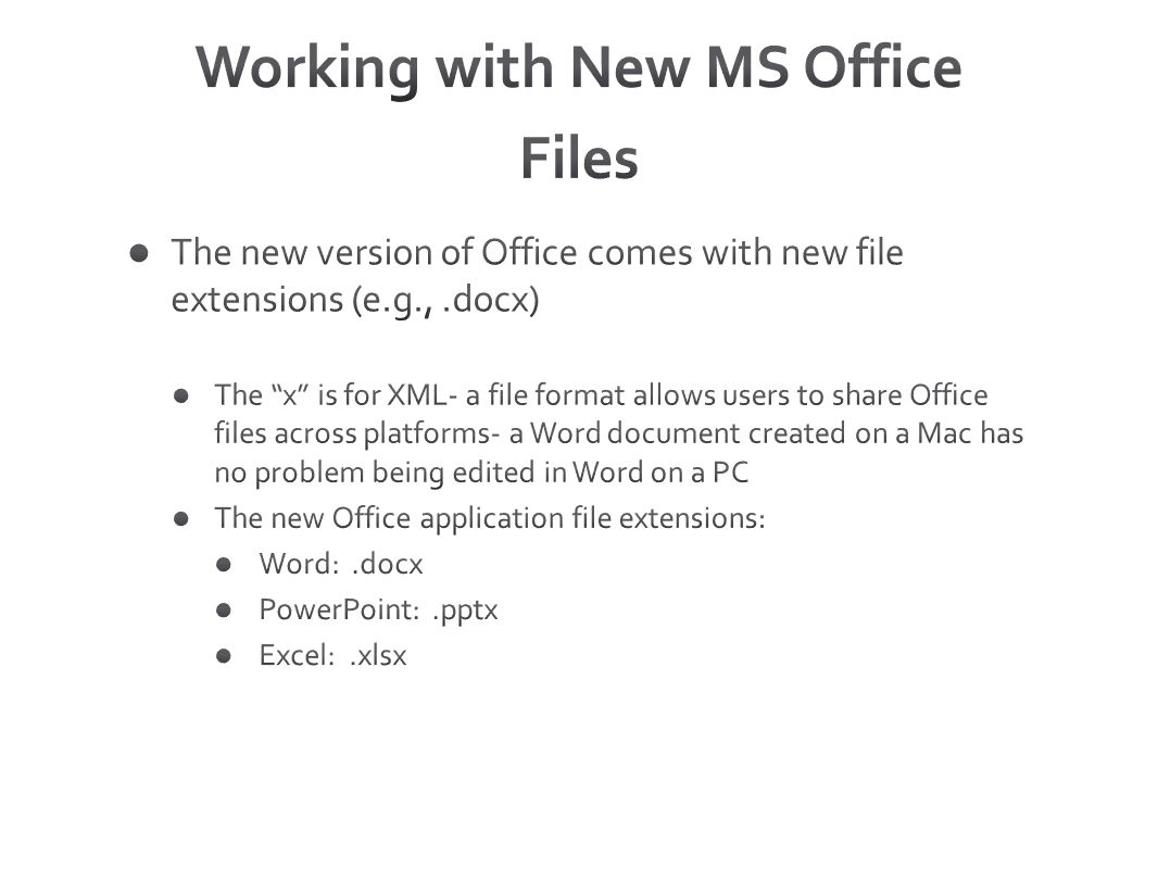 Working with New MS Office Files