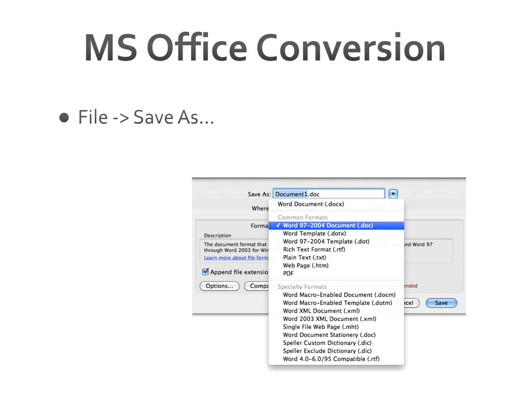MS Office Conversion File -> Save As…