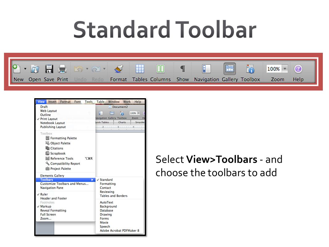 Standard Toolbar Select View>Toolbars - and choose the toolbars to add