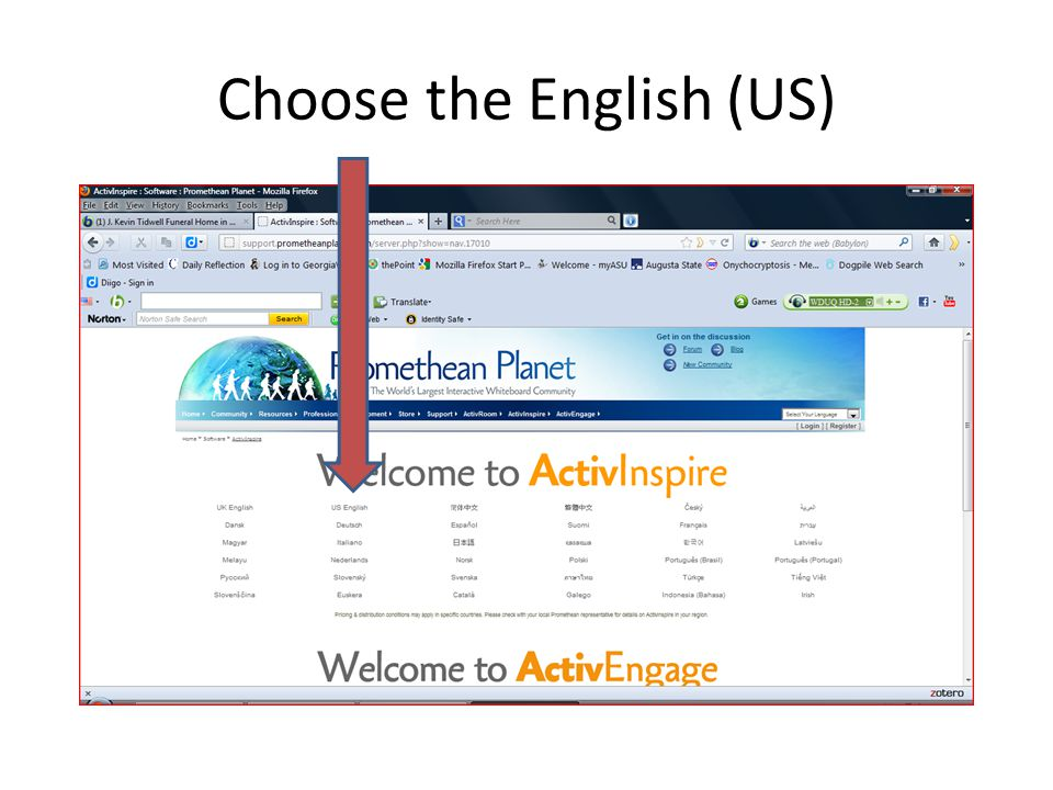 Choose the English (US)