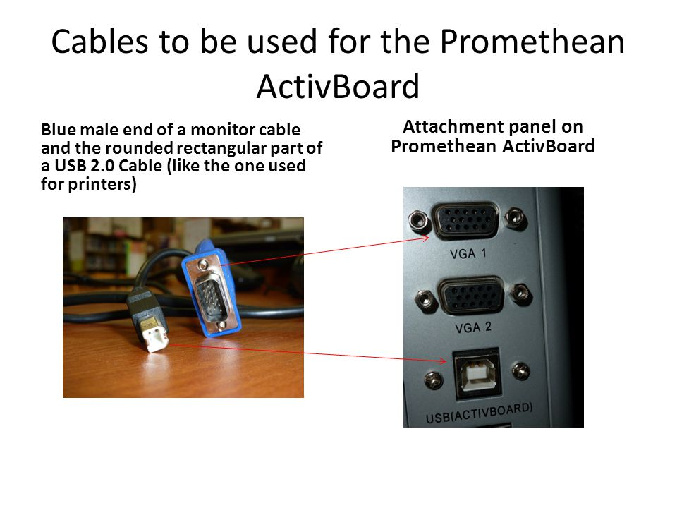 Cables to be used for the Promethean ActivBoard