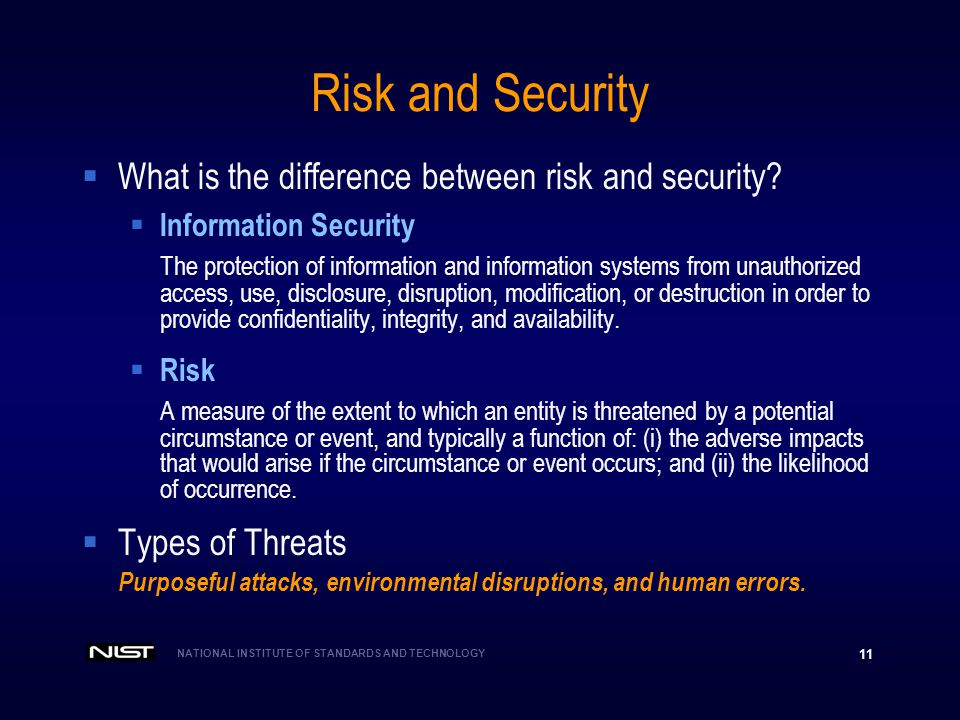 Risk and Security What is the difference between risk and security