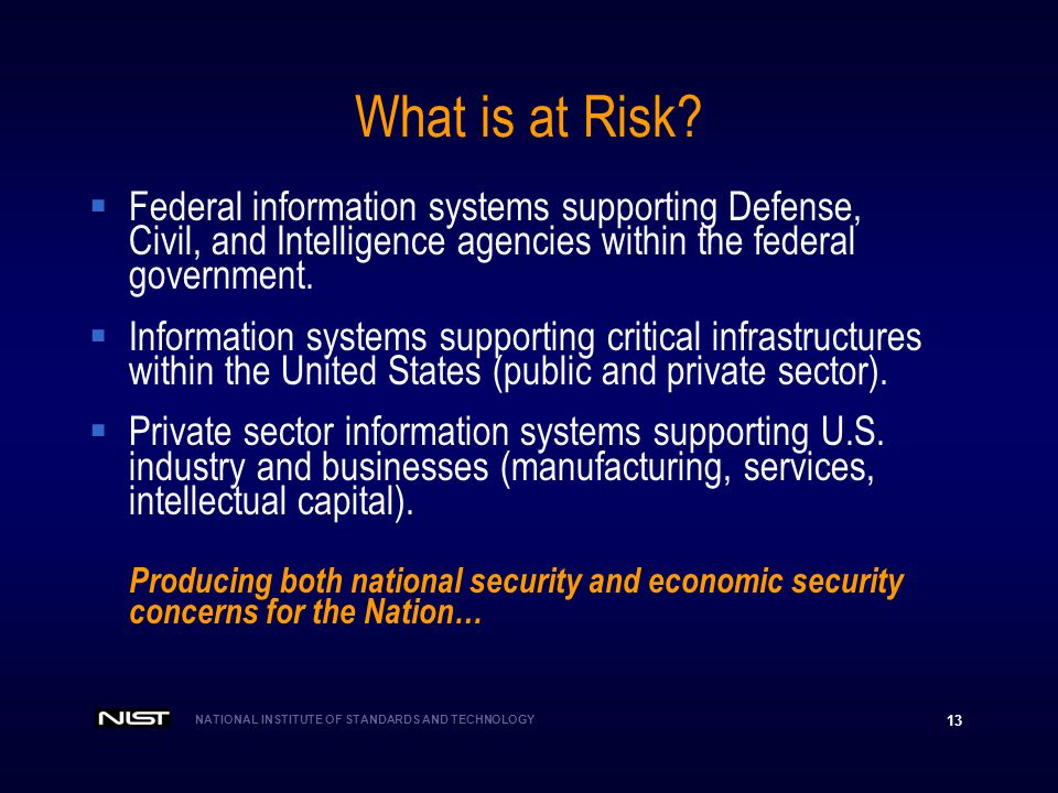 What is at Risk Federal information systems supporting Defense, Civil, and Intelligence agencies within the federal government.