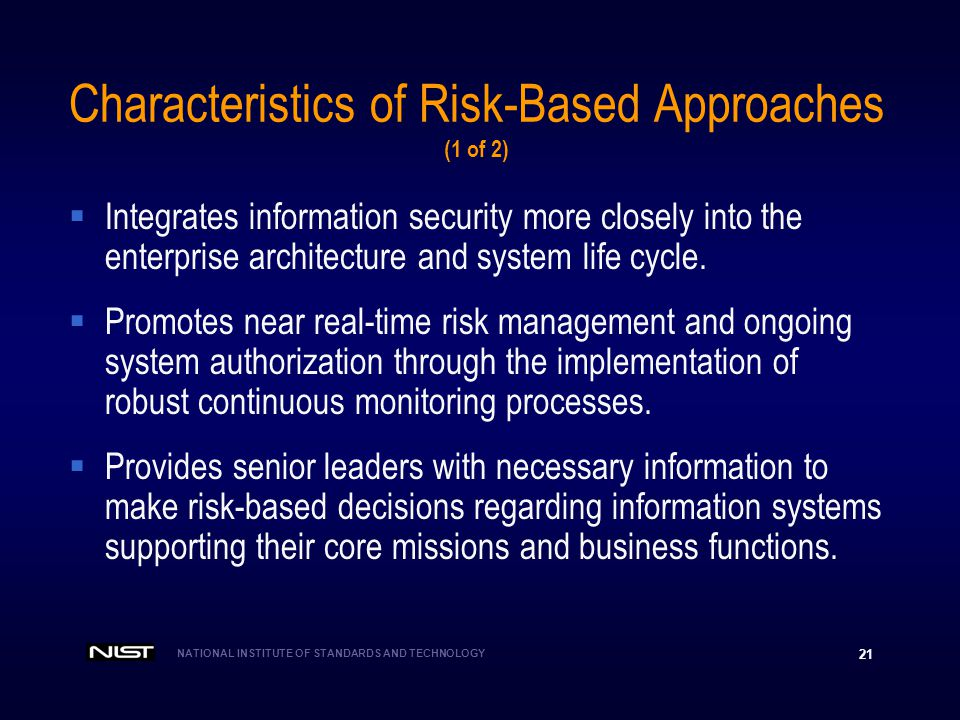 Characteristics of Risk-Based Approaches (1 of 2)