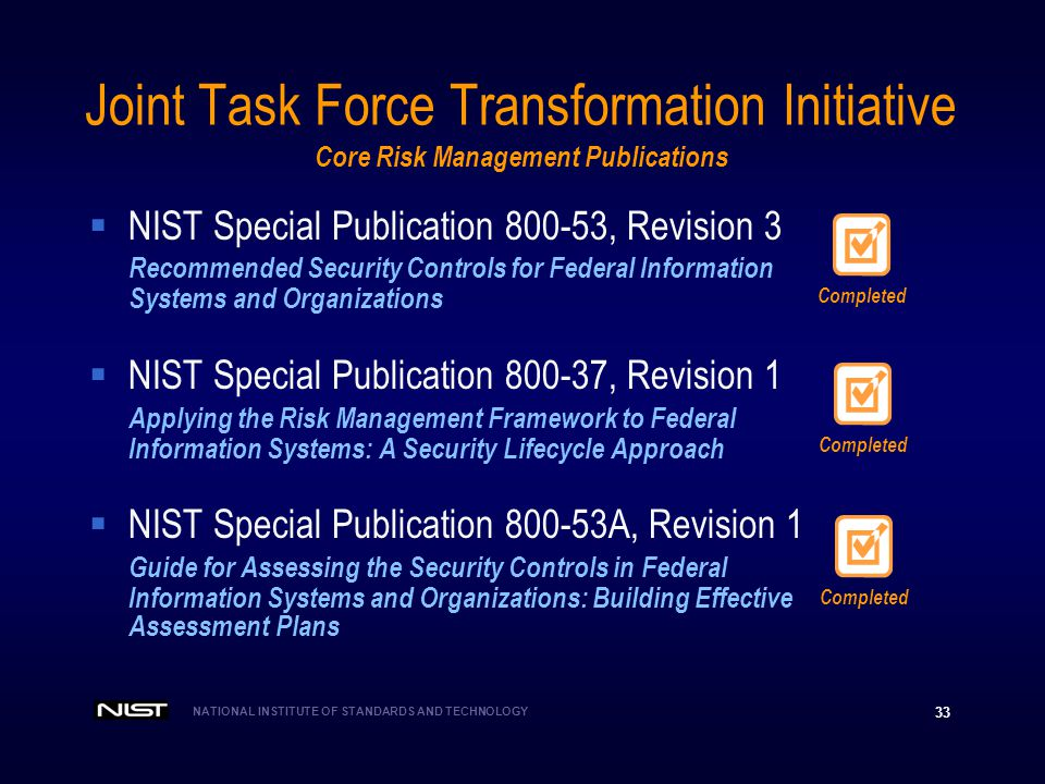 Joint Task Force Transformation Initiative Core Risk Management Publications