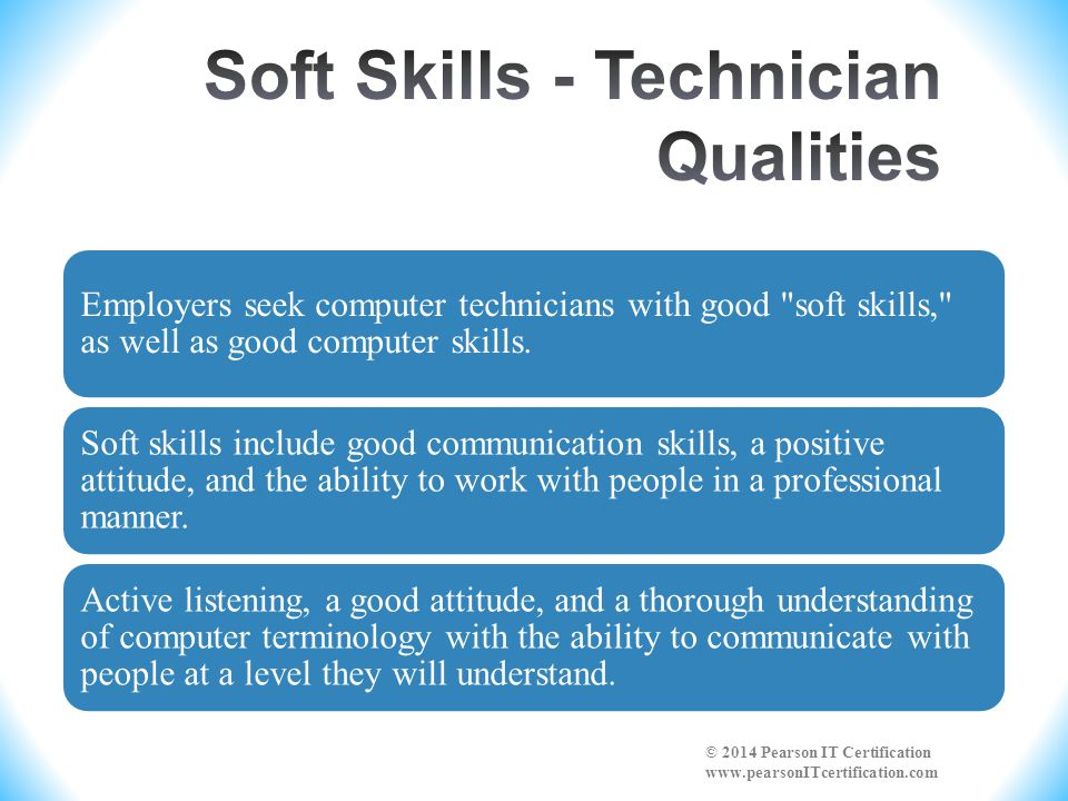 Soft Skills - Technician Qualities