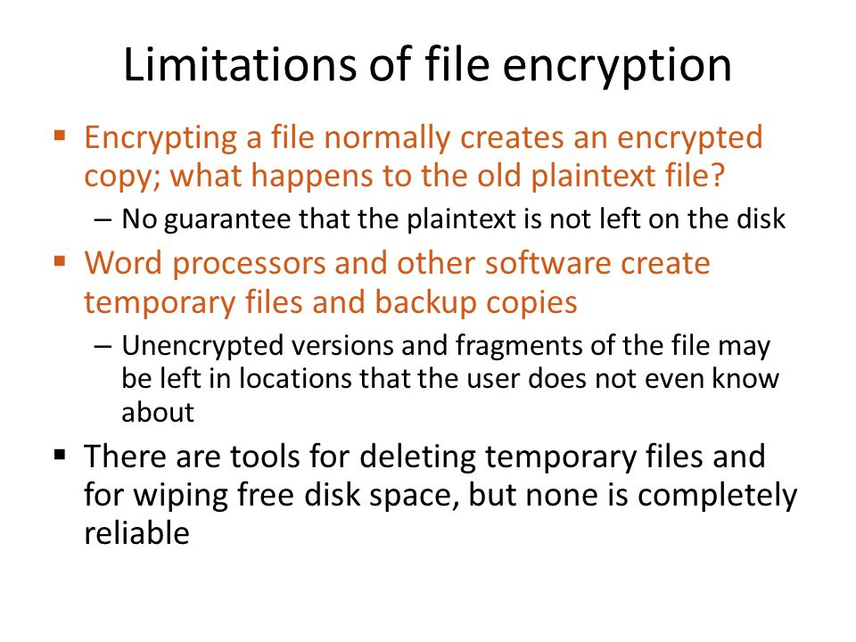 Limitations of file encryption