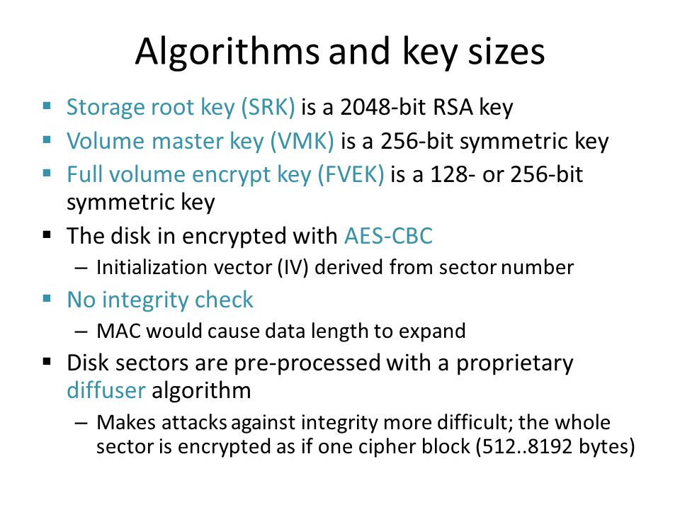 Algorithms and key sizes