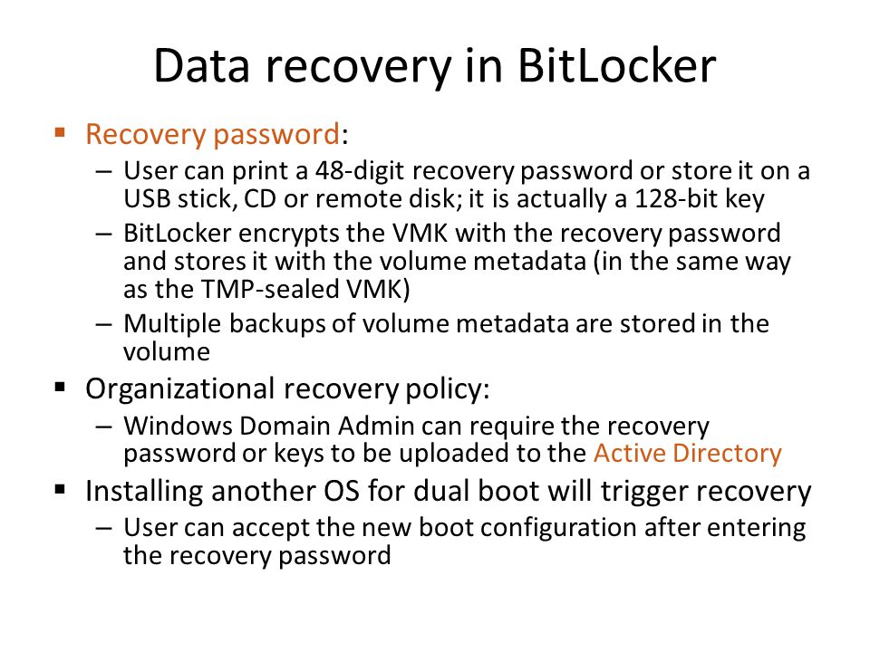 Data recovery in BitLocker