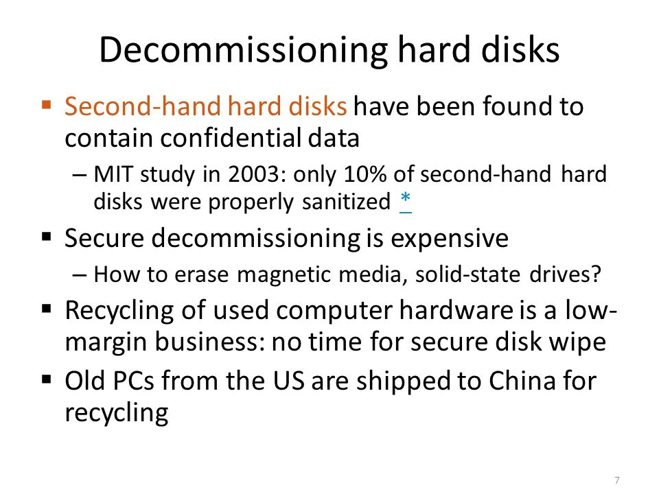 Decommissioning hard disks