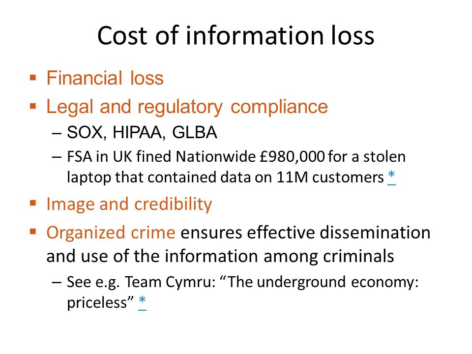 Cost of information loss