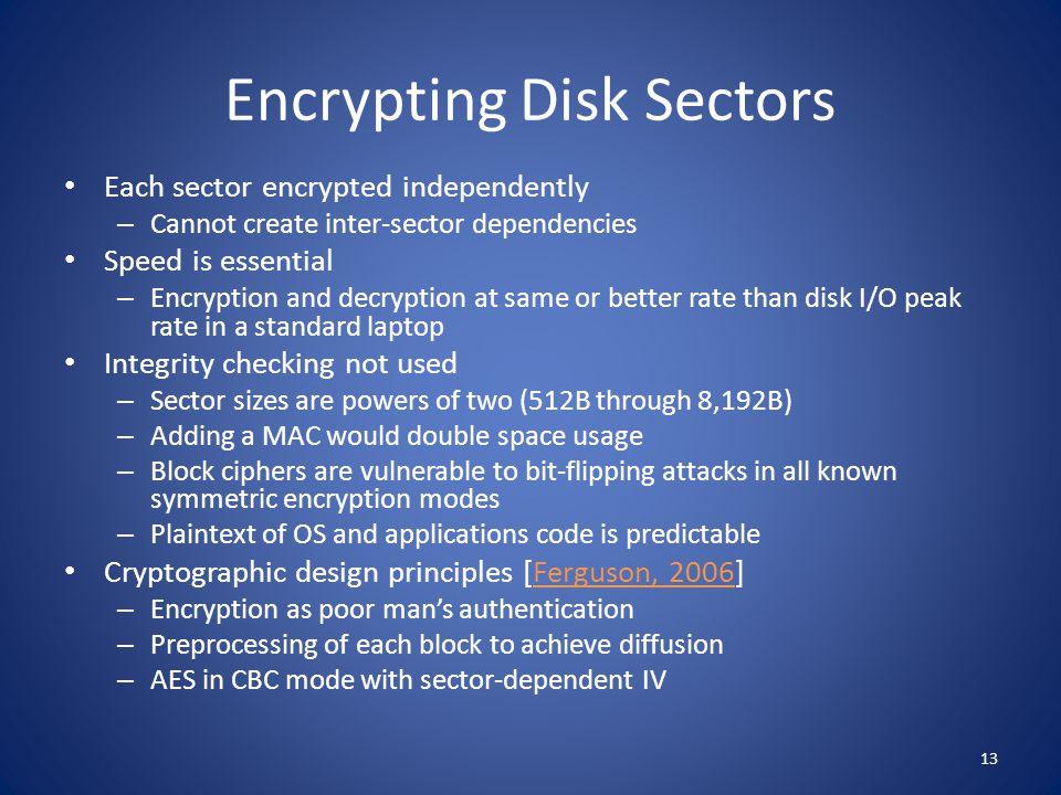 Encrypting Disk Sectors