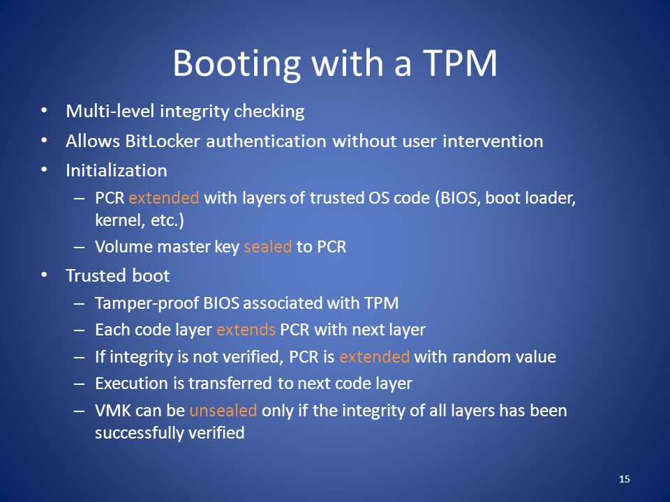 Booting with a TPM Multi-level integrity checking