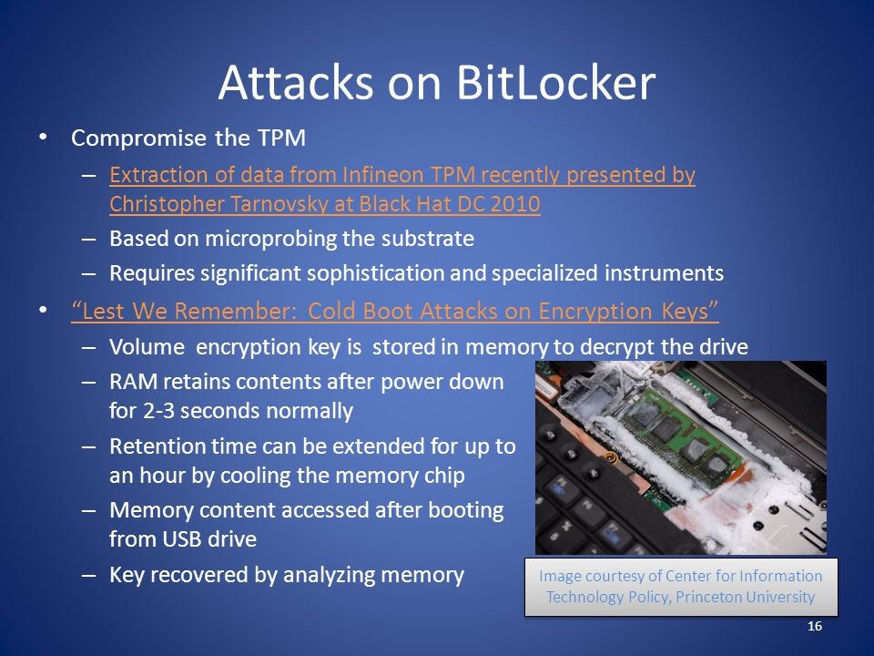 Attacks on BitLocker Compromise the TPM