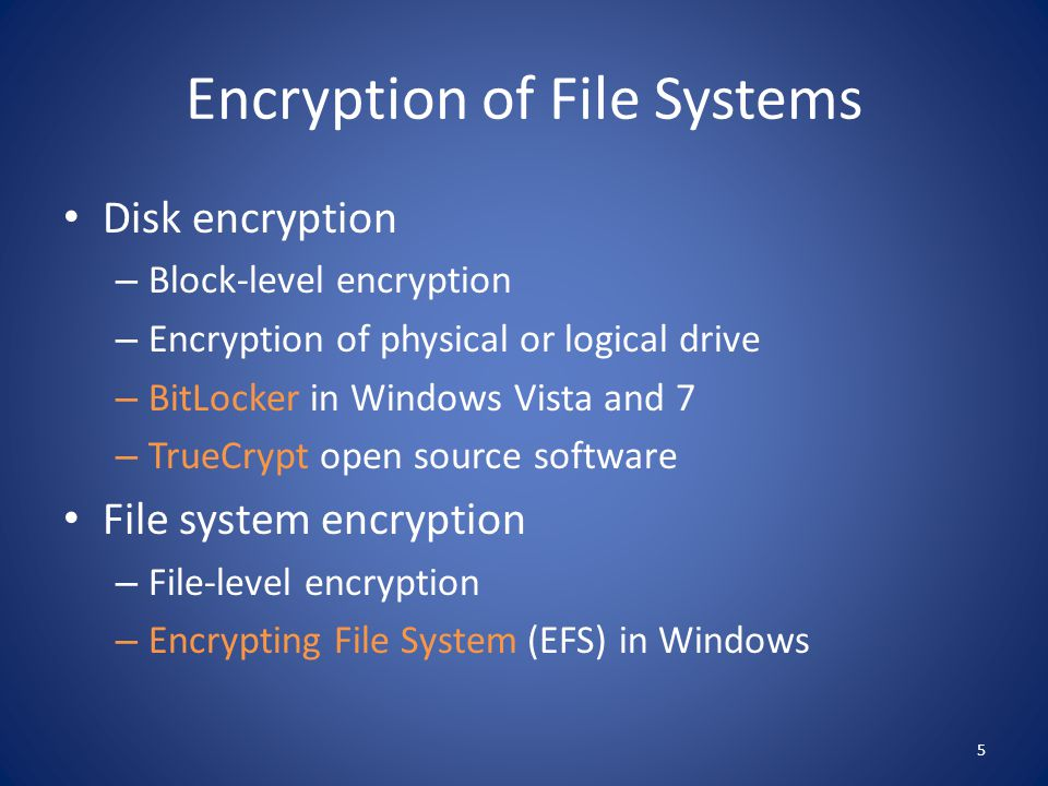 Encryption of File Systems