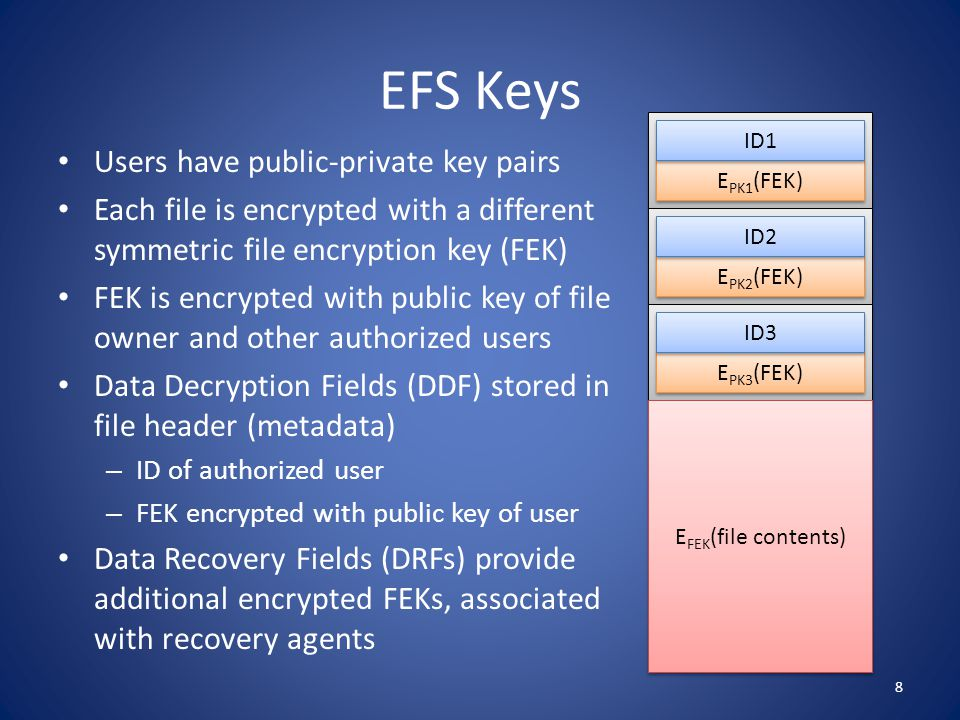 EFS Keys Users have public-private key pairs