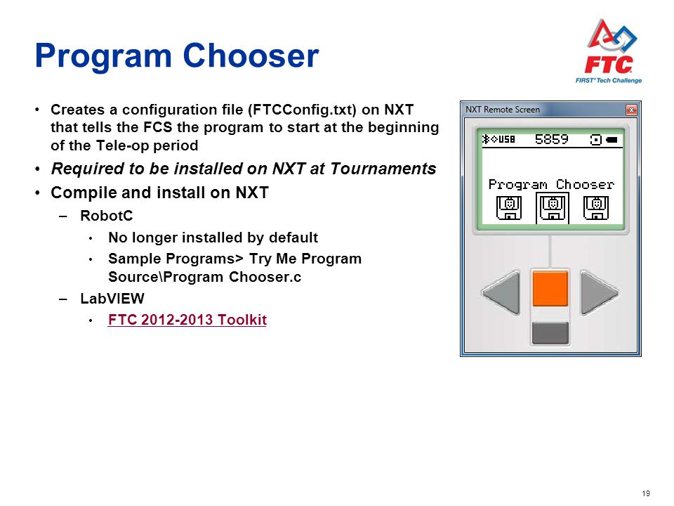Program Chooser Required to be installed on NXT at Tournaments