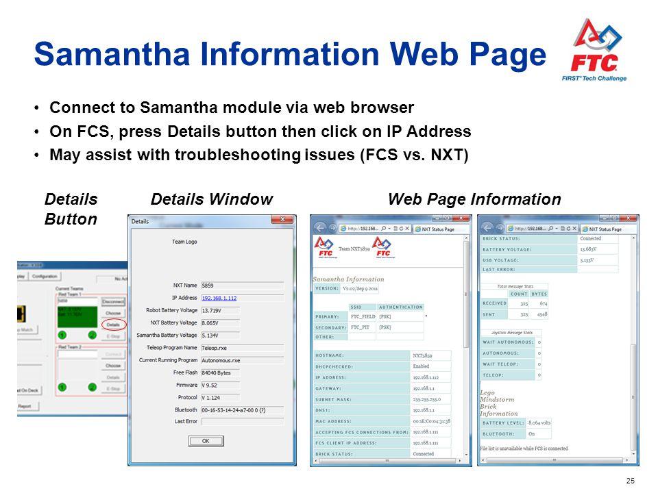 Samantha Information Web Page
