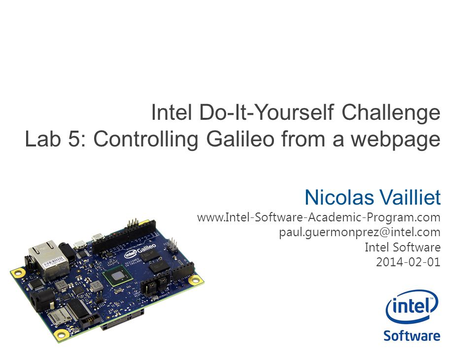 Intel Do-It-Yourself Challenge Lab 5: Controlling Galileo from a webpage
