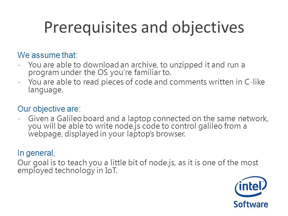 Prerequisites and objectives