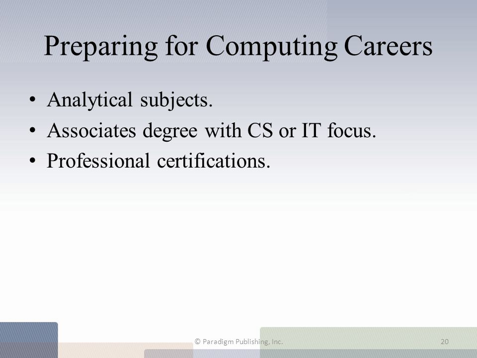 Preparing for Computing Careers
