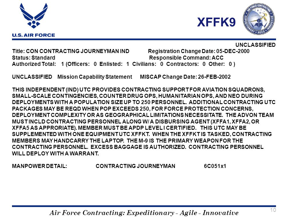 XFFK9 Title: CON CONTRACTING JOURNEYMAN IND Registration Change Date: 05-DEC-2000. Status: Standard Responsible Command: ACC.